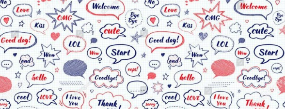 Stock Vector Hand Drawn Set Of Speech Bubbles With Dialog Words Hi Love Sorry Welcome Bye Vector Seamless 593154224 E1505270460723